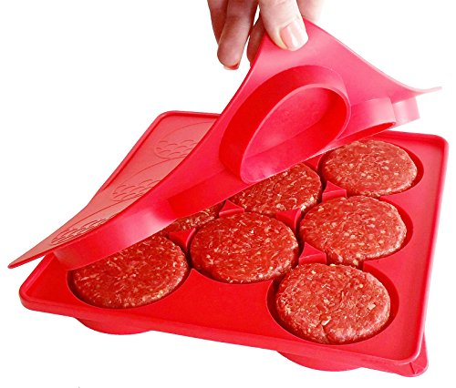 Silicone Burger Press | 8 in 1 Circular Compartments for Patties, Cookies, Hash Browns, Cutlets, & More | Red