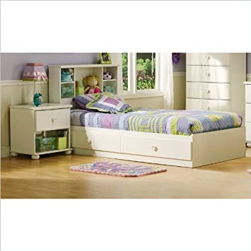 Twin Bookcase Bed Set in Pure White Finish