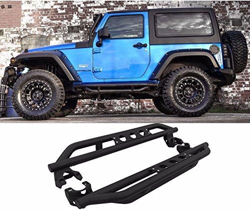 Mifeier Textured Black Nerf Bar Side Step Running Boards For 07-16 Jeep Wrangler JK 2 Door 2D (Running Boards For Jeep 2 Door compare prices)