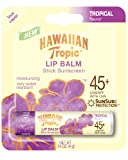 Hawaiian Tropic Moisturizing Lip Balm Sunscreen, SPF 45, Tropical .14 oz (4 g)