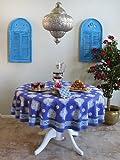 Casablanca Blues ~ Moroccan Style Quatrefoil Round Tablecloth 90 Round