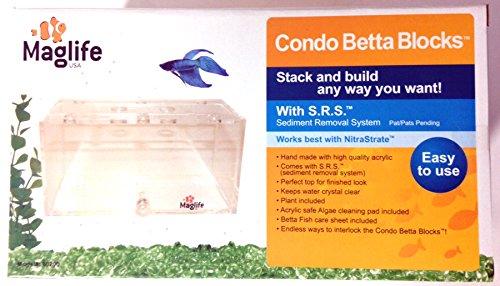 Maglife Usa AMX80200 AMX Acrylic Condo Betta Block Aquarium with Sediment Removal System, Clear
