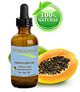 "Botanical Beauty Papaya Seed Oil. 100% Pure / Natural / Undiluted /Refined Cold Pressed Carrier Oil. 1 Fl.oz.- 30 ml. For Skin, Hair And Lip Care. ""One Of The Richest Natural Sources Of Vitamin A & C And A Remarkable Stable Source Of Omega 6 & 9 And Natur"