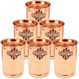 IndianArtVilla Pure Copper Flate Hammered Set Of 6 Glass Tumbler With Lid 300 ML Each - Serving & Drinking Water...