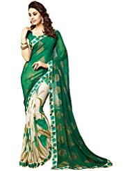 White World Women's Georgette Saree (1_Designer Green Saree_Green)