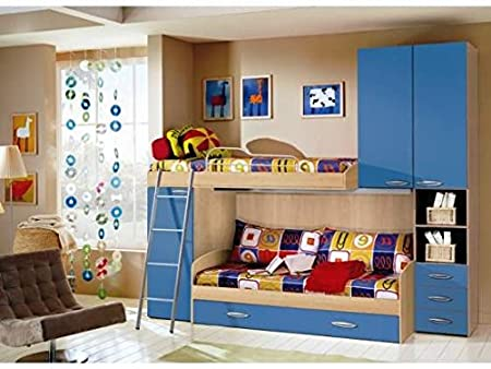 Cameretta soppalco azzurro e faggio triplo letto