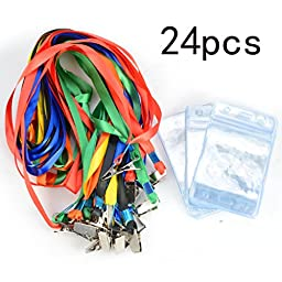 Name Tags ID Badge Holder With Lanyard 24pcs iLoveCos