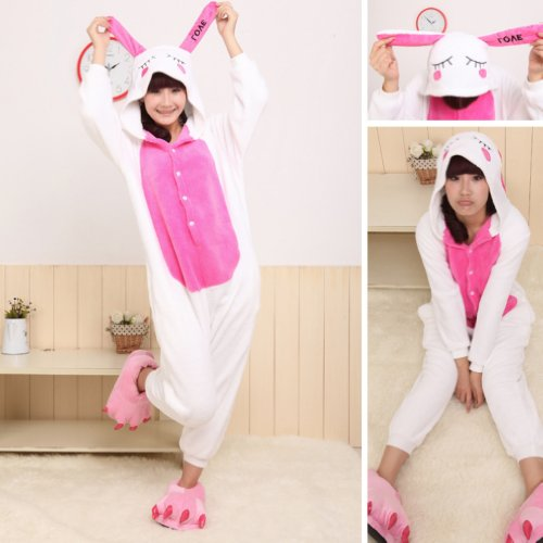Winter Rabbit Pajamas Cosplay Costume Footed Sleepwear For Women Men