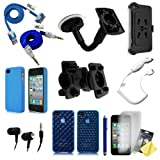 """CBUS Wireless """"On the Go"""" 15in1 Value Pack Bundle for Apple iPhone 4 / 4S - Vehicle Windshield Mount Bicycle Mount Honeycomb & Diamond Case Matte Hard Case Vehicle Charger 3.5 mm audio cable Headphones Stylus Pen 3x Screen Protectors"""