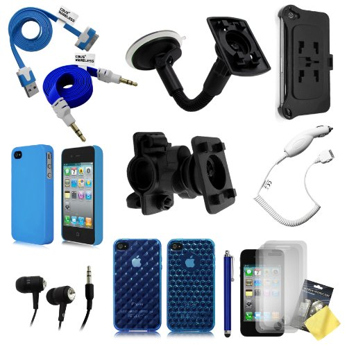 "Cbus Wireless ""On The Go"" 15In1 Value Pack Bundle For Apple Iphone 4 / 4S - Vehicle Windshield Mount, Bicycle Mount, Honeycomb & Diamond Case, Matte Hard Case, Vehicle Charger, 3.5 Mm Audio Cable, Headphones, Stylus Pen, 3X Screen Protectors"