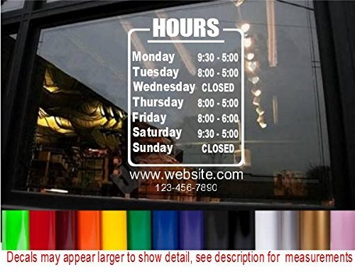 Store hours window decals browse store hours window for Opening a storefront business