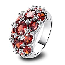 buy Psiroy 925 Sterling Silver Stunning Created Gorgeous Women'S 6Mm*4Mm & 5Mm*7Mm Oval Cut Garnet Charms Filled Ring