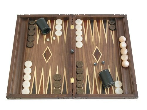 "Backgammon Board Game Set with Racks - (Hand-carved Dragon Cover) - Large 19"" Maple Wood Case"