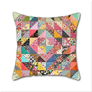 Amazon.com - Natural Cotton DIY Decorative Pillow Cases, Grandma S Quilt Cotton Linen Square ...