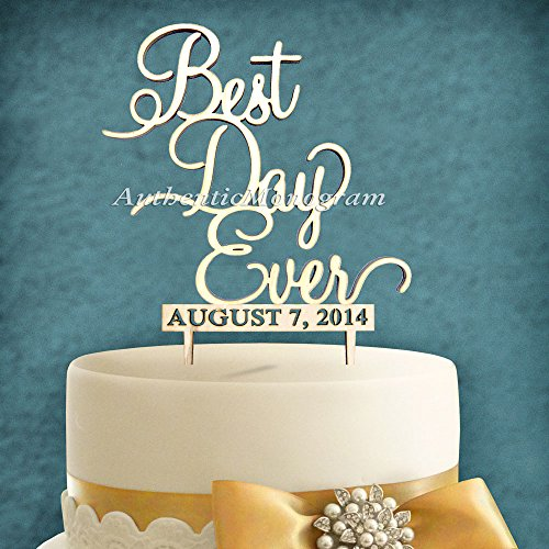 "5"" Wooden Painted Cake Topper Custom ""Best Day Ever"" & Date To Remember Monogram, Wedding, Initial, Celebration, Special front-994529"
