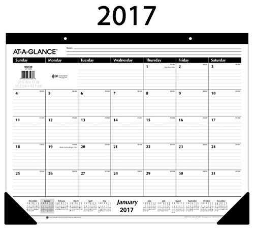 At-A-Glance Desk Pad Calendar 2017, Monthly, Ruled, 21