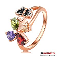 buy Madamelin Fashion Multi-Colored Flower Butterfly Ring Rose Gold Plate Swa Element Austria Crystal Ring Ri-Hq1049-A