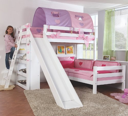 Etagenbett Set »4 DREAMS« in Buche massiv weiß lackiert günstig online kaufen