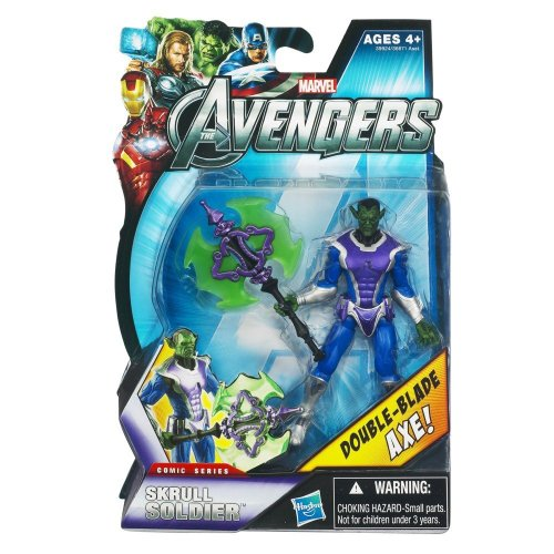 Marvel Avengers Comic 4 Inch Action Figure Skrull Soldier Double Blade Axe!