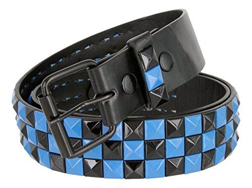 Racing Flag Gothich Pyramid Studded Punk Rocker Leather Belt (M, Blue/Black Loop Design)