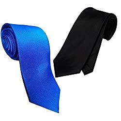 WSD men's narrow royal blue and red micro fiber tie pack of two (BLACK AND ROYAL BLUE)