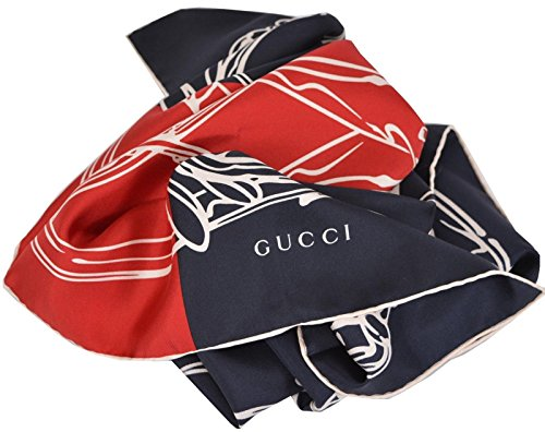 Gucci Women`s Silk Blue Bandana Riding Horse Twill Neck Scarf