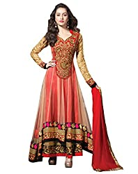 Red Net Embroidered Semi Stitched Anarkali Suit