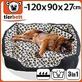 Riesiges Tierbett Hundebett Katzenbett Tierkorb Größe XL Satin-Tatze mit Knuddelkissen + Nässeschutz - Außenmaß