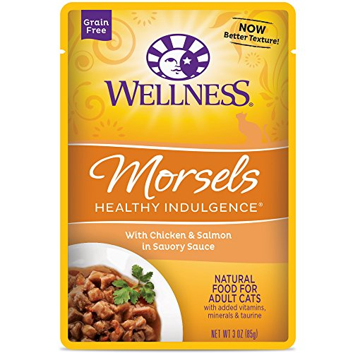 Wellness Healthy Indulgence Natural Grain Free Wet Cat Food, Morsels Chicken & Salmon, 3-Ounce Pouch (Pack of 24) (Drive Slow Cats compare prices)