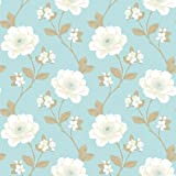 IDECO LUXURY NATURAL FLORAL JULIET FLOWER LEAF 10M WALLPAPER ROLL 923042
