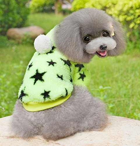 Esingyo Pet Cat Dog Coat Jumper Hoodie Soft Velvet Stars Small Dog Clothes Sweaters For Autumn And Winter Green Xl