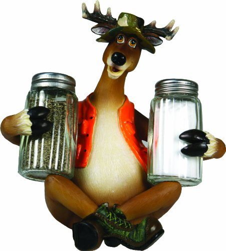 rivers-edge-hand-painted-poly-resin-salt-and-pepper-shaker-set-cunning-deer-in-hunting-vest