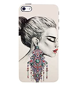 Amazing Girls Ear Rings 3D Hard Polycarbonate Designer Back Case Cover for Apple iPhone 4S