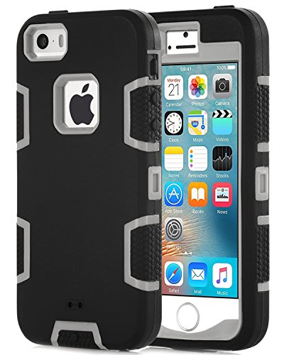 5S Cases,iPhone 5S Cases,iPhone 5 Cases,SE Case,BENTOBEN 3 IN 1 Hybrid [Silicone&PC] Bumper Slim Protective Dual Layer Shockproof Drop Resistance Cover for iPhone 5S,iPhone 5,iphone SE,Black/Grey (Slim Iphone 5 Bumper compare prices)
