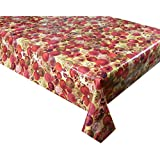 2 METRES (200cm x 137cm) 6 SEATER SIZE CHRISTMAS TABLE CLOTH BAUBLES IN DEEP RED ON GOLD VINYL / PVC TABLECLOTH WIPE CLEAN TEXTILE BACKED ()
