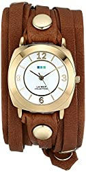 La Mer Collections Women's LMODY1005 14k Gold-Plated Watch with Leather Wrap-Around Band