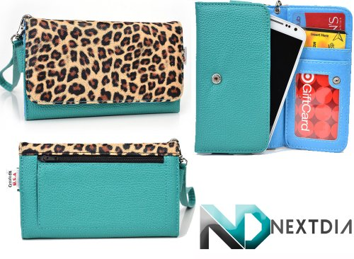 Gigabyte Gsmart Maya M1 Womens Wristlet Clutch Case Green Sage Leopard Pattern With Sky Blue With Credit Card Holder And Crossbody Shoulder Strap & Nd Velcro Cable Organizer