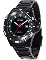 Detomaso Matera Tritium Solar Black/Blue Men's Quartz Watch with Multicolour Dial Analogue Display and Black Stainless Steel Bracelet DT2044-C