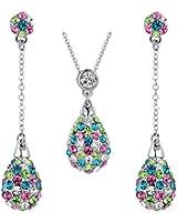 Arco Iris Jewelry Parure collier avec pendentif et boucles d'oreilles Cristaux ovales et zircone cubique Multicolore