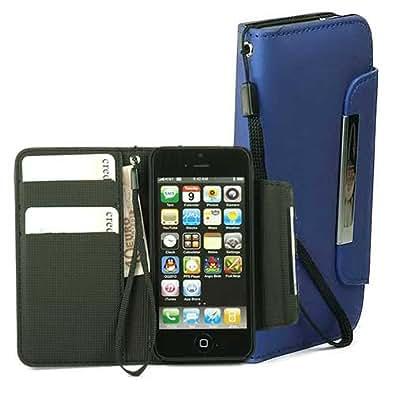 ABZ-S Ledertasche für iPhone 5S, 5 mit Handschlaufe - blau