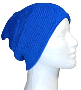 Slouchy Beanie Slouch Skull Hat Ski Hat Snowboard Hat Ribbed Beanie,One Size,Royal