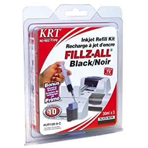 Ko-Rec-Type UR100-0-C Compatible Inkjet Refill Kit (Black)