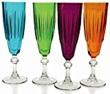 Circleware High Class Multi-colored Glass Wine Glasses on Clear Stem Set, Set of 4, Orange, Purple, Bright Blue and Bright Green, Limited Edition Glassware Drinkware Drinking Glasses