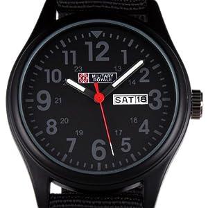 Military Royale Men's Black Analog Dial Nylon Strap Date Sport Swiss Style Army Watch MR053
