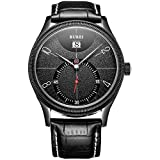 BUREI Men Full Black Quartz Watch Analog Dial with Big Number Date Window Stainless Steel Case Genuine Leather Strap