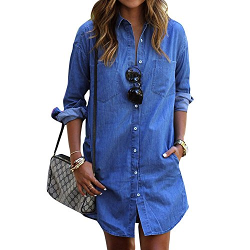 Comemall Women Long Sleeve Loose Denim Mini Dress