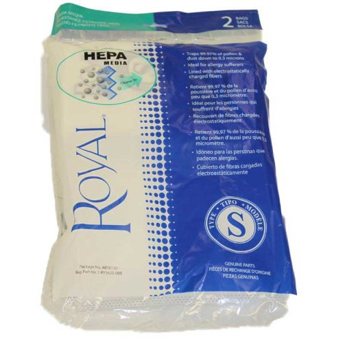 2 Royal RY4000 Backpack Style S AR10130 HEPA Filtration Premium Allergen Filtration Vacuum Cleaner Bags, Part AR10130, RY3620, and 1020961000. 2pk. Genuine (Royal Vacuum Backpack compare prices)