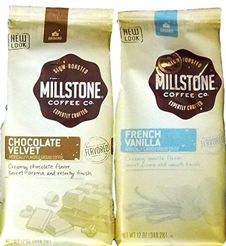 Millstone Coffee Flavored Ground Coffee 2 Flavor Variety Bundle: (1) Millstone Chocolate Velvet Ground Coffee, And (1) Millstone French Vanilla Ground Coffee, 12 Oz. Ea. (2 Bags Total)