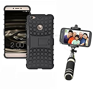 Hard Dual Tough Military Grade Defender Series Bumper back case with Flip Kick Stand for LETV IS + Mini Aux Wired Selfie Stick Compatible for all Mobiles Phones by Carla Store.