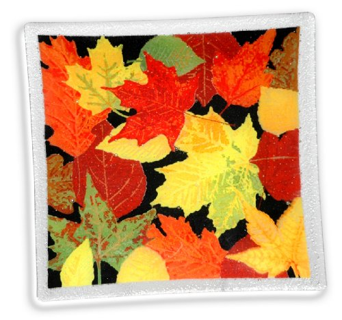 Peggy Karr Handcrafted Art Glass Autumn Leaves Plate, Square, 10-Inch
